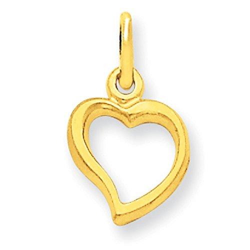 14K Yellow Gold Fancy Flat-Backed Heart Charm Pendant (Backed Fancy Heart Pendant)