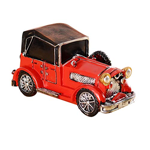(AddGrace Red Vintage Resin Car Model for Decoration,Resin Crafts Gift Coin Box)