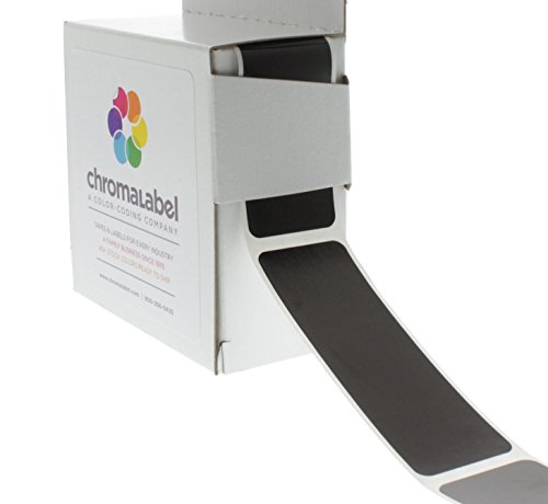 ChromaLabel 1 x 3 inch Color-Code Labels | 250/Dispenser Box - Chalkboard Stickers Black
