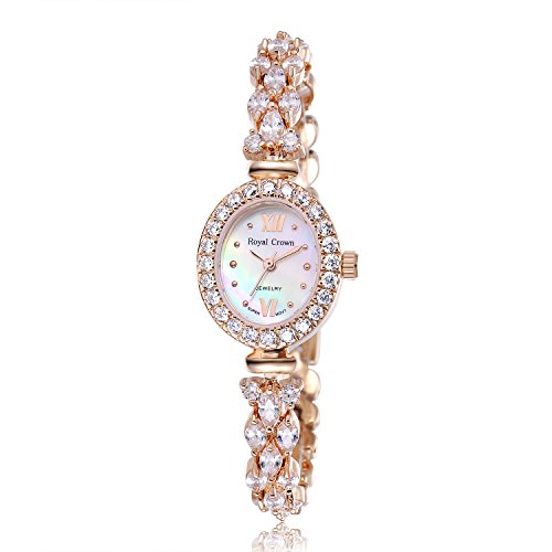 Royal Crown Women's Quartz Watch Luxury Rose Gold Bangle Watch Jewelry Waterproof Women Fashion Wrist Wrist Watch from Royal Crown
