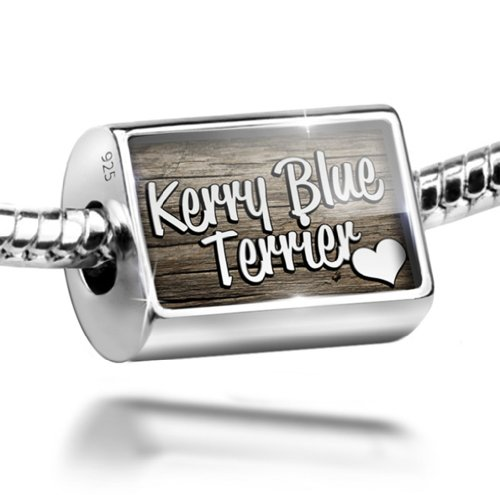 Dog Blue Kerry Charm Terrier (Sterling Silver Charm Kerry Blue Terrier, Dog Breed Ireland - Bead Fit All Euro)