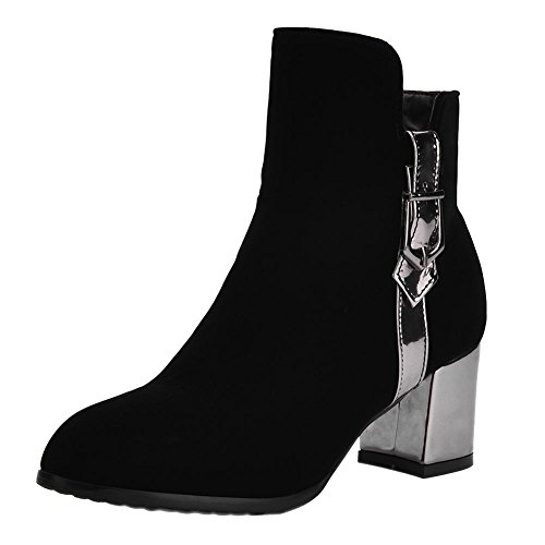 Charm Foot Womens Fashion Multicolor Zipper Chunky High Heel Ankle Boots Black aevQ2TCJD