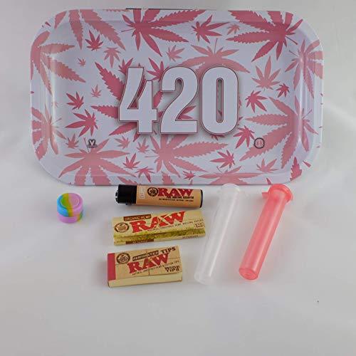 Pink Leaf 420 Amsterdam Originals Metal Smoking Rolling Tray Large Bundle Kit Papers Tubes Filters Lighter