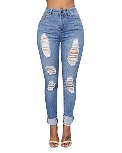 Pantaloni Boyfriend Azzurro Alta Donna Vita Denim Jeans Gamba Dritta Strappati A Chiaro qYH1wTF