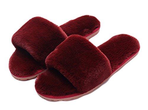 Du pieds De Plat Outdoor Mode Slip Femme Toison Beginning Indoor Vin En Sur Peluche D'hiver Auspicious Chaussures Slipper tfavx