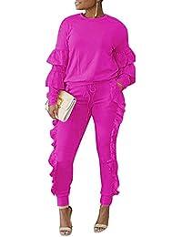 Women's Casual Outfits Puff Sleeve Shirt + Ruffled Pants Set Sweatsuits Tracksuits Clubwear