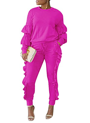 Pink Jumpsuit (Mojessy Women's Casual Outfits Puff Sleeve Shirt + Long Pants Set Sweatsuits Tracksuits Clubwear X-Large Rose)