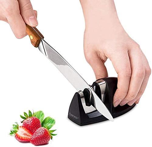 hanmir Afilador Cuchillos Profesional Afilador Cuchillos de Cocina de 2 Etapas, Varilla de Cerámica y Hoja de Acero de Tungsteno