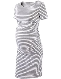 Women's Ruched Maternity Bodycon Dress Mama Causual Short...