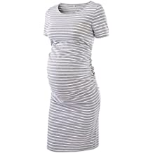 Liu & Qu Women's Ruched Maternity Bodycon Dress Mama Causual Short Sleeve Wrap Dresses