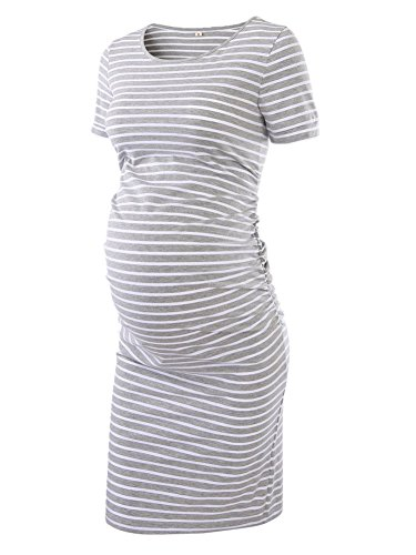 Women's Ruched Maternity Bodycon Dress Mama Causual Short Sleeve Wrap Dresses,Grey White,medium