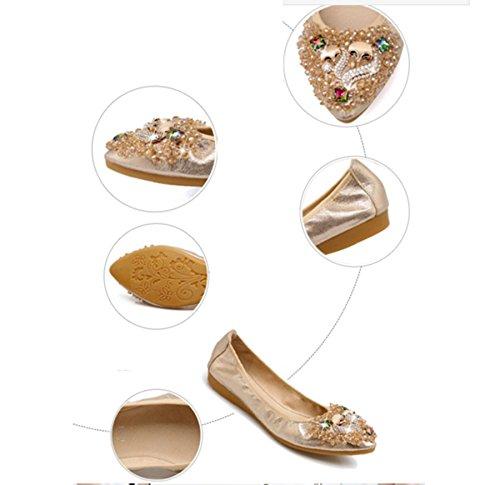 Opsun Flats Size 9 Gold Women's Ballet x4S6O