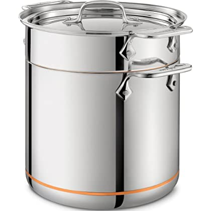 Image of All-Clad 6807 SS Copper Core 5-Ply Bonded Dishwasher Safe Pasta Pentola / Cookware, 7-Quart, Silver Home and Kitchen