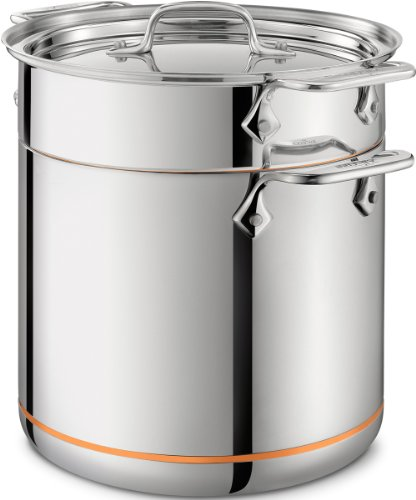 All-Clad 6807 SS Copper Core 5-Ply Bonded Dishwasher Safe Pasta Pentola / Cookware, 7-Quart, Silver ()
