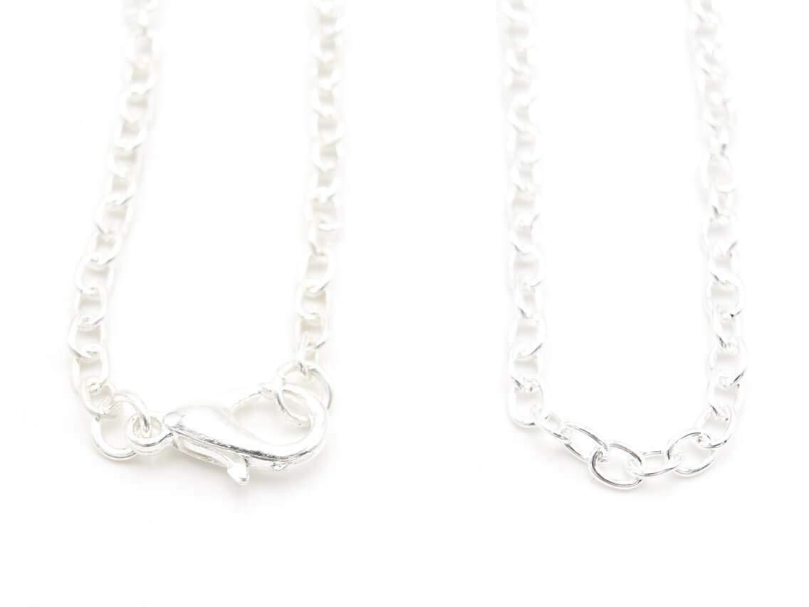 Vintageparts fertige Gliederketten mit gedrehten Gliedern in silberfarben 50cm 2er Set Schmuck selber basteln Halskette