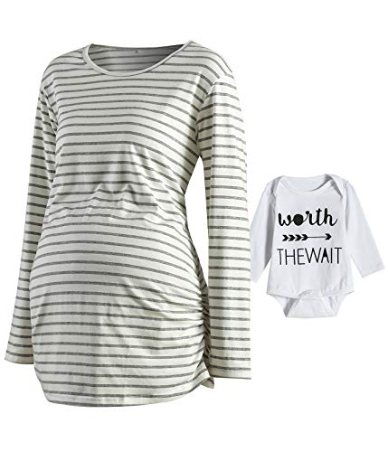 - Women's Raglan Sleeve T-Shirt Side Ruched Tops Striped Fitted Pregnancy Clothes (White02+Newborn Bodysuit, X-Large)