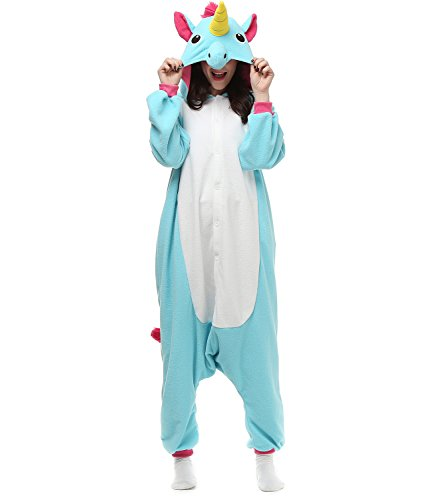 Women and Men's Kigurumi Blue Unicorn Onesie Pajamas Costume Outfit Medium (2)