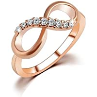 Thanyaluk Women Zircon Infinity Crystal Rings Wedding Rose Gold Plated Ring Best Gift 6-9# (6)