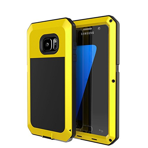Galaxy S7 Case, Tomplus [Newest] Extreme Hard Luxury Aluminum Alloy Protective Metal Full-body Rugged Holster Case with Built-in Gorilla Glass Screen Protector for Samsung Galaxy S7 (Yellow)