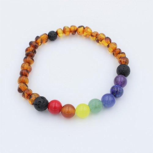 Baltic Amber and Gemstone Chakra Bracelet