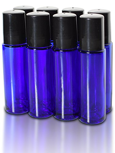 8-pack-essential-nature-blue-glass-bottles-not-painted-with-metal-rollers-2-pipettes-48-labels-10ml-