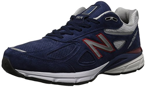 New Balance Men's 990v4 Running Shoe, Pigment/Red, 11 D US (Mens Pigment)