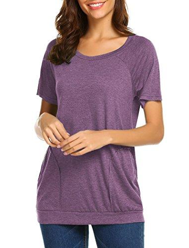 Halife Loose Tunic Shirt Short Sleeve, Womens Casual Pockets T Shirt Tops Purple XL by Halife (Image #3)