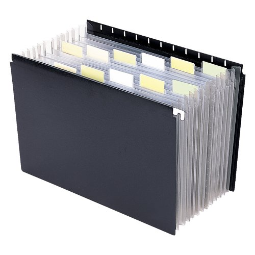 Smead Poly Hanging Expanding File, 12 Dividers, Retractable Hooks, Letter Size, Black - Expanding Pockets Hanging