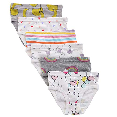 benetia Toddler Girls Underwear Panties Kids Soft Cotton 6-Pack 5t 6t
