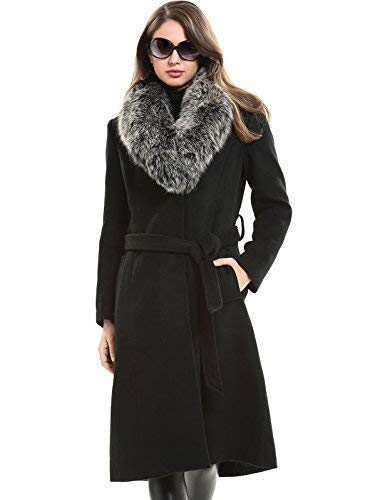 Esclaier Women's Wool Trench Winter Warm Coat with Real Fur Collar Black