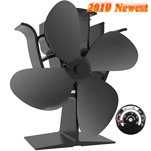 Sonyabecca Stove Fan with Magnetic Thermometer 4 Blade Wood Stove Fans Heat Powered Fireplace Fan Aluminium Eco-Friendly for Wood Log Burner Fireplace