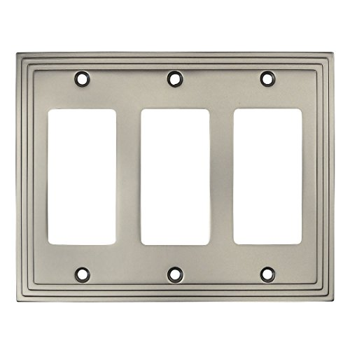 Cosmas 25084-SN Satin Nickel Triple GFI / Decora Rocker Wall Switch Plate Switchplate (Triple Gfi Switchplates)