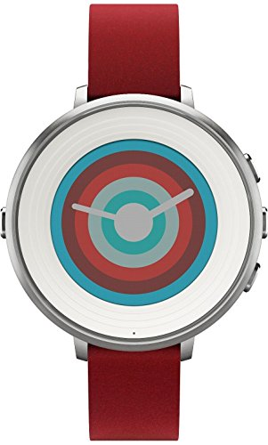 Pebble Technology Corp Smartwatch for iPhone/Android Smartphone – Silver/red (Renewed)