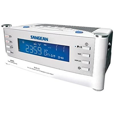 Sangean AM/FM Radio Atomic Clock with Humane Waking System and Large LCD Display, Alarm with Snooze Features, Aux Input by Sangean
