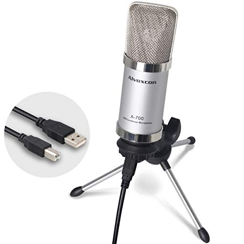 USB Microphone, Unidirectional Condenser Mic for Computer (Mac/Windows), well suited for home studio recordings, Skype, Stream, Voice over, vocal, dictation, podcasting with desk tripod stand by Alvoxcon