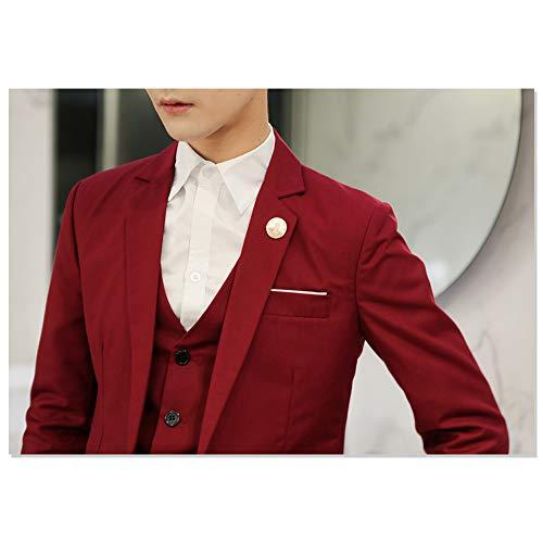 Rouge Élégante Décontractée Affaires b Costume Xfentech Un Blazer Fête Bouton Veste Hommes De Pour PqP4wBYA7