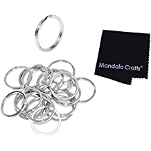 Mandala Crafts Heavy Duty Flat Round Stainless Steel Metal Keychain Split Ring Bulk Pack for Keyrings Keys Luggage Pet Tags Lanyards (25mm 1 Inch 20 Piece Count, Silver)