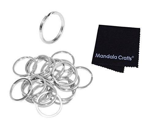 Luggage Wholesale Tags (Mandala Crafts Heavy Duty Flat Round Stainless Steel Metal Keychain Split Ring Bulk Pack for Keyrings Keys Luggage Pet Tags Lanyards (25mm 1 Inch 20 Piece Count, Silver))