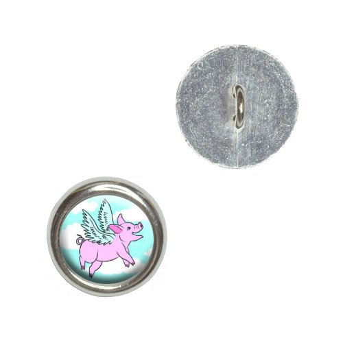 Flying Pig - When Pigs Fly Metal Craft Sewing Novelty Buttons - Set of 4