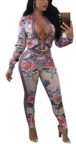 Speedle Women's 2 Piece Floral Print Bodycon Sweatsuit, Floral 7, XXX-Large