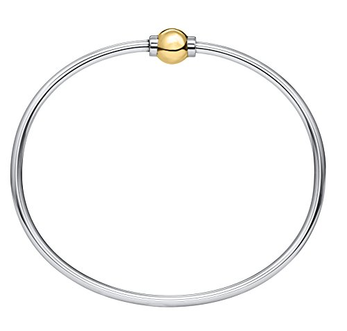 14k Yellow Gold Twisted Bangle - The Traditional Sterling Silver & 14K Yellow Gold Clad Single Ball Threaded Bracelet from Cape Cod, 6.5