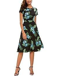 Women's Floral Print Short Sleeve Flared Midi Dress
