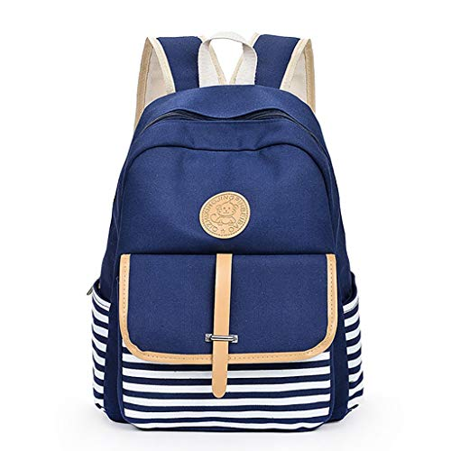 School Backpack, LBPSUUEW Student Canvas Bookbag Lightweight Laptop Bag for Teen Boys and Girls (1pc, Blue)