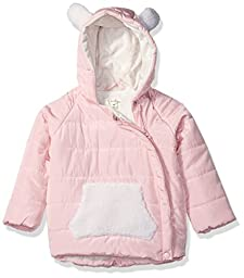 Jessica Simpson Baby Girls\' Asymmetric Zip Kangaroo Pocket Bubble Jacket, Pink, 24 Months