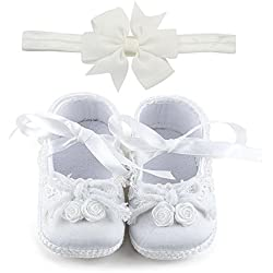 OOSAKU Baby Girl Christening Baptism Flower Lace Shoes Dance Ballerina Sneakers (0-6 Months, Shoes & Headband)