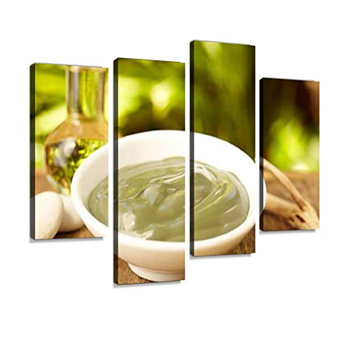 Canvas Wall Art Painting Pictures Grape Seed Oil and Avocado mud mask spa Treatment Modern Artwork Framed Posters for Living Room Ready to Hang Home Decor 4PANEL