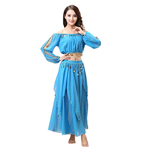 Maylong Women's Lantern Sleeve Belly Dance Skirt Halloween Costume DW60 (Sky Blue) (Sized Lantern Sky)