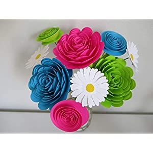 Bright Paper Flower Bouquet, Modern Roses and Daisies, Fuchsia Pink, Aqua Blue and Green Neon Colors 1.5 to 3 Inch Blooms, 9 Stemmed Floral Decor 55