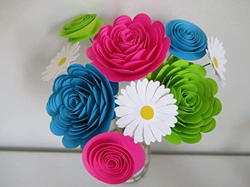 Daisy Rose Bouquet - Bright Paper Flower Bouquet, Modern Roses and Daisies, Fuchsia Pink, Aqua Blue and Green Neon Colors 1.5 to 3 Inch Blooms, 9 Stemmed Floral Decor