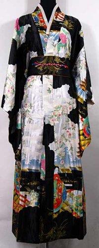 Shanghai Tone® Japan Geisha Kimono Robe Night Gown Black ...